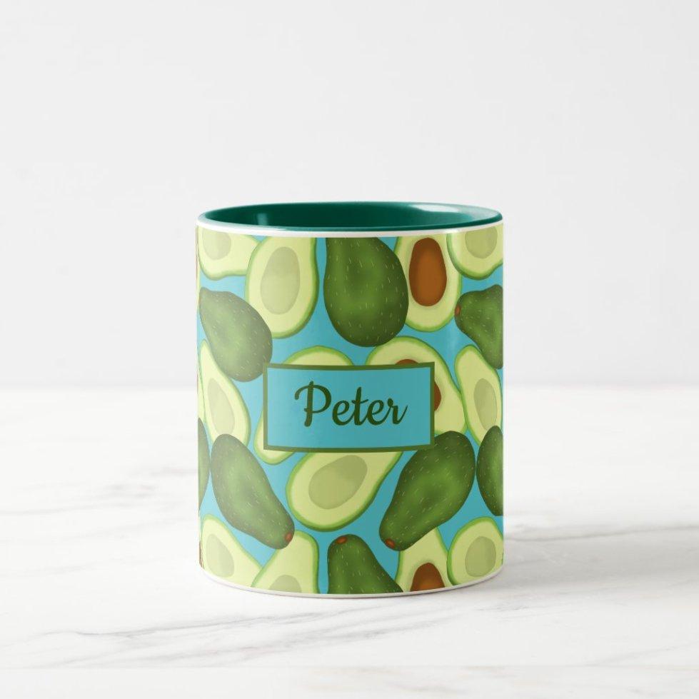 Avocados pattern add your name Two-Tone coffee mug