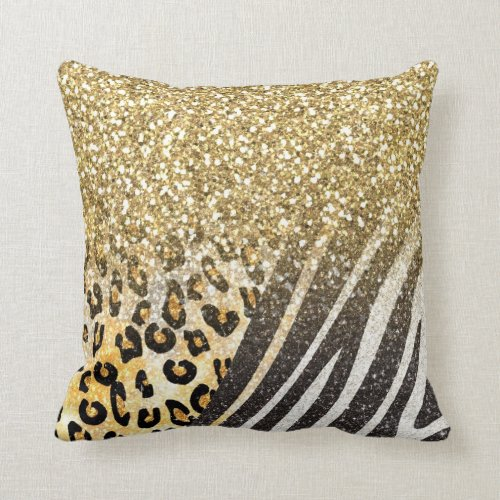 Awesome girly trendy gold leopard and zebra print pillow