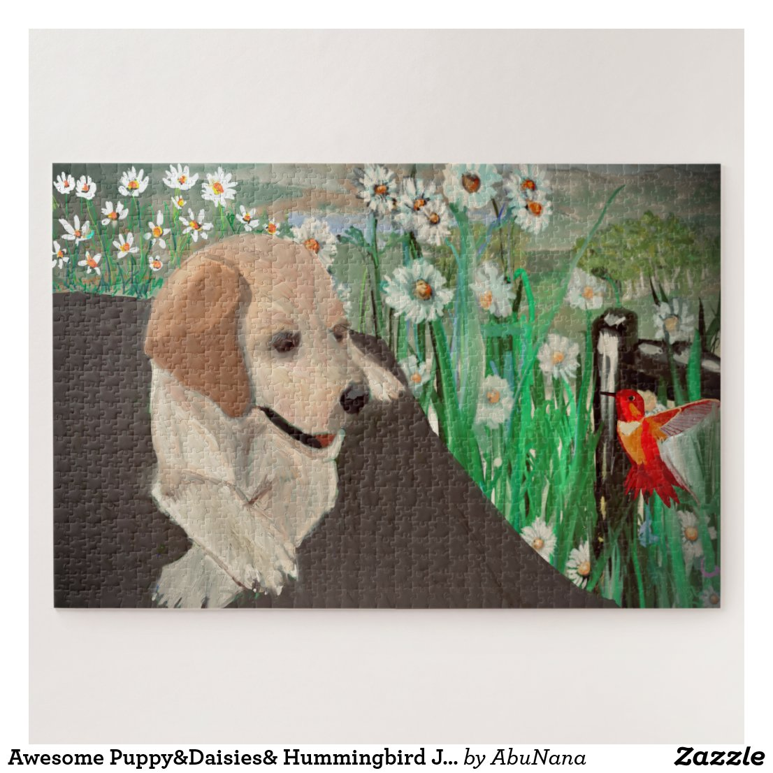Awesome Puppy&Daisies& Hummingbird Jigsaw Puzzle