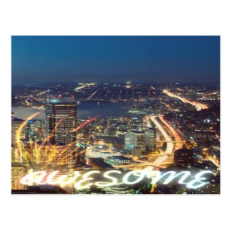 Awesome Seattle Panorama Night Postcard