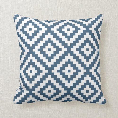 Aztec Geometric Dark Denim Blue Throw Pillow