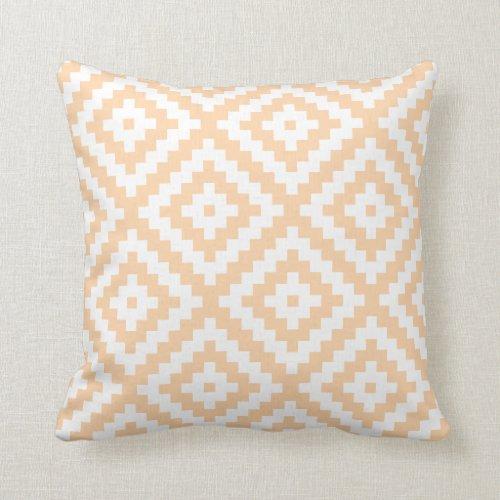 Aztec Geometric Pastel Orange Throw Pillow