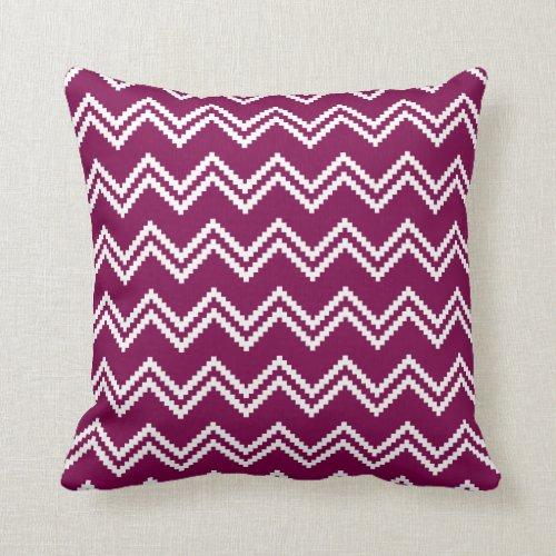 Aztec Zigzag Pattern Fuchsia Pink Throw Pillow