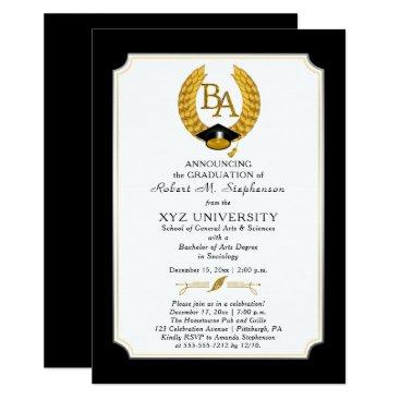 BA - Bachelor of Arts Degree College Graduation Invitation
