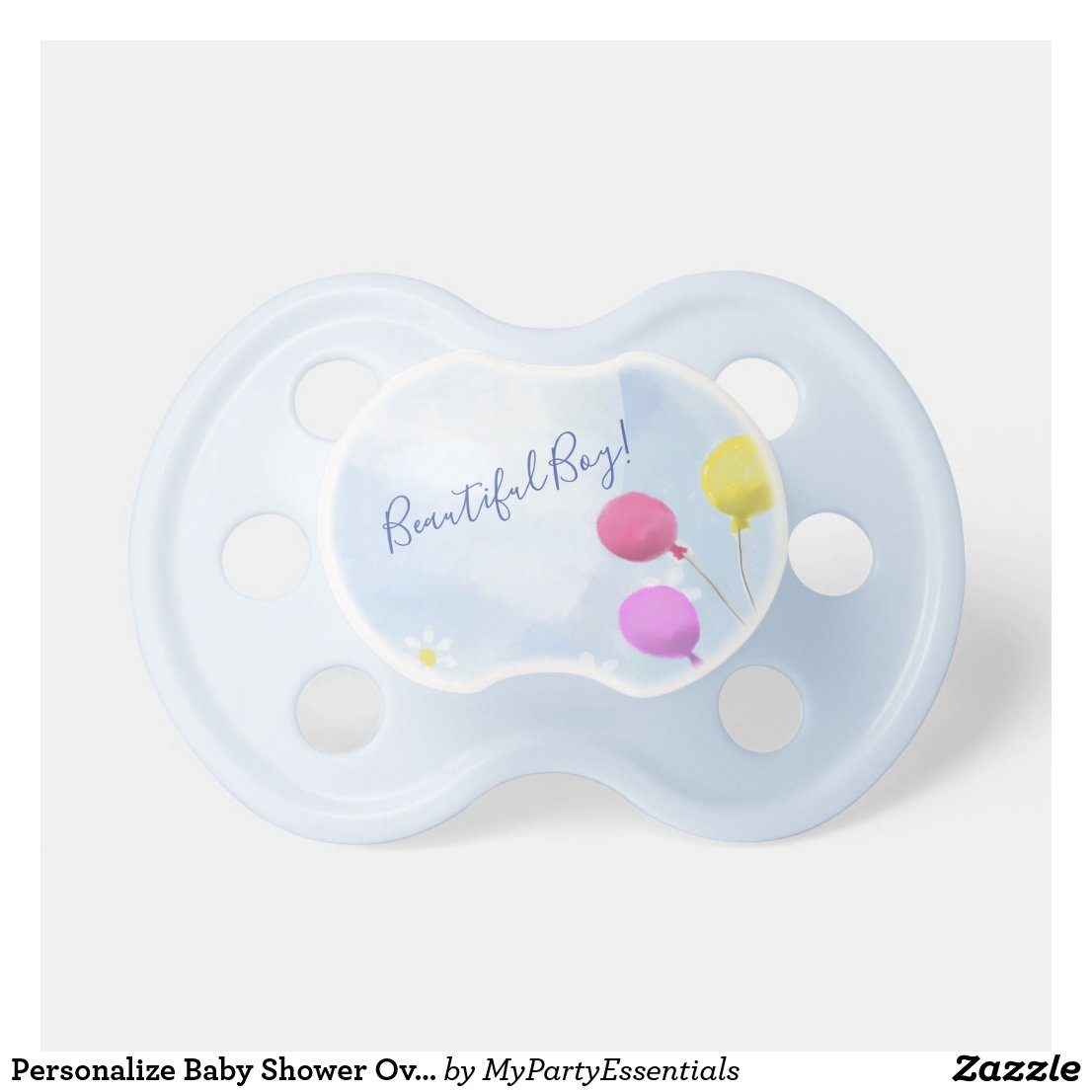 Baby Boy Balloon & Daisies Watercolor Baby Shower Pacifier