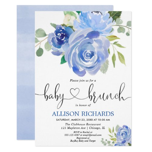 Baby brunch boy shower blue floral watercolors invitation