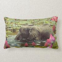 Baby Elephant and Lotus Flowers Lumbar Pillow