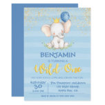 Baby Elephant Boy | First Birthday Invitation
