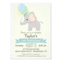 Baby Elephant Kid's Birthday Party Invitation