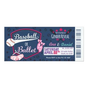 Baby gender reveal - Baseballs or Ballet Card