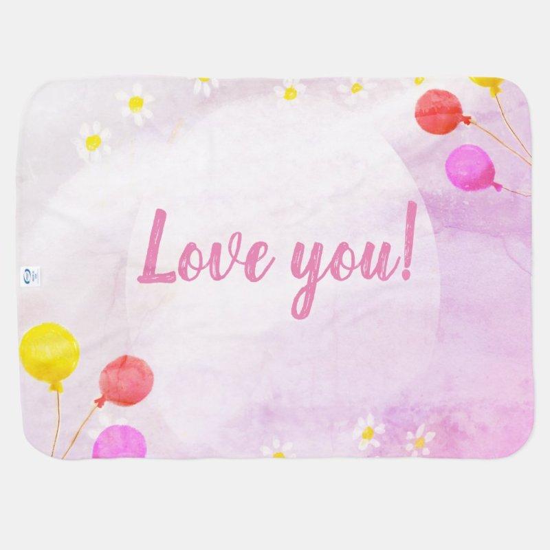 Baby Girl Balloon & Daisies Watercolor Baby Shower Baby Blanket