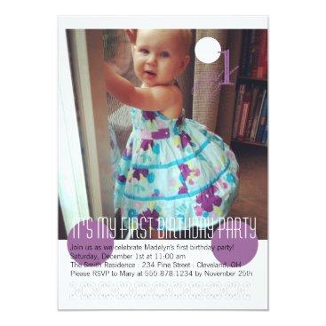 Baby Girl First Birthday Party Invitation