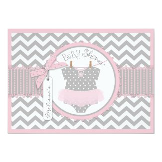 Baby Girl Tutu Chevron Print Baby Shower 5x7 Paper Invitation Card