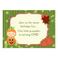 Baby in Pumpkin Costume 1st Birthday Invitation