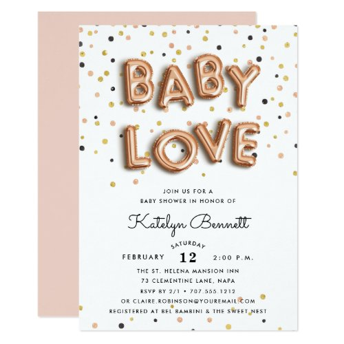 Baby Love | Rose Gold Baby Shower Invitation