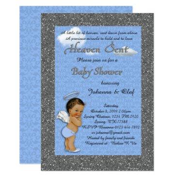 Baby Shower Boy, Baby Angel,Blue, glitter, silver Invitation
