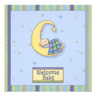 Baby Shower Boy Decorative Design Custom Invitation