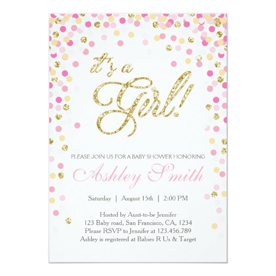 Pink And White Bridal Shower Invitations