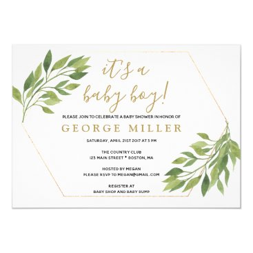 Baby shower elegant greenery and gold invitation