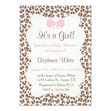 Baby Shower girl pink leopard Invitation
