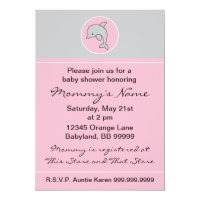 Baby Shower Invitation. Pink Dolphin. 5