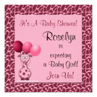 Baby Shower Invitation Pink Giraffe