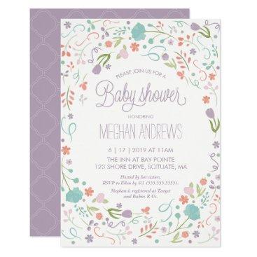 Baby Shower Invitation, Pretty Flowers Girl Invite