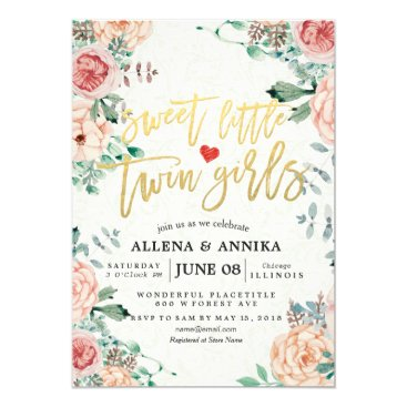 Baby Shower Invitations Sweet Little Twin Girls