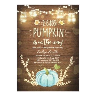 Baby Shower invite Little Pumpkin Fall Rustic Boy