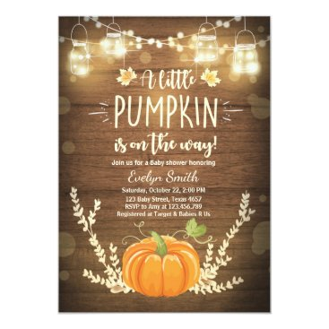 Baby Shower invite Little Pumpkin Fall wood rustic