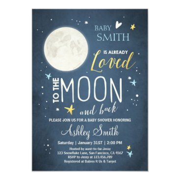 Baby Shower Love You to the Moon and Back Blue Boy Card