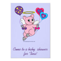 Baby Shower: Pig Angel with Balloons Card