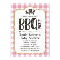 Baby Shower Pig Roast BBQ Pink Plaid Card