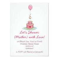 Baby Shower Pink Cake Invitation