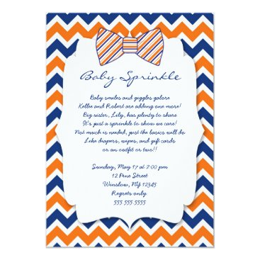 Baby Sprinkle navy orange Bow tie baby shower Card
