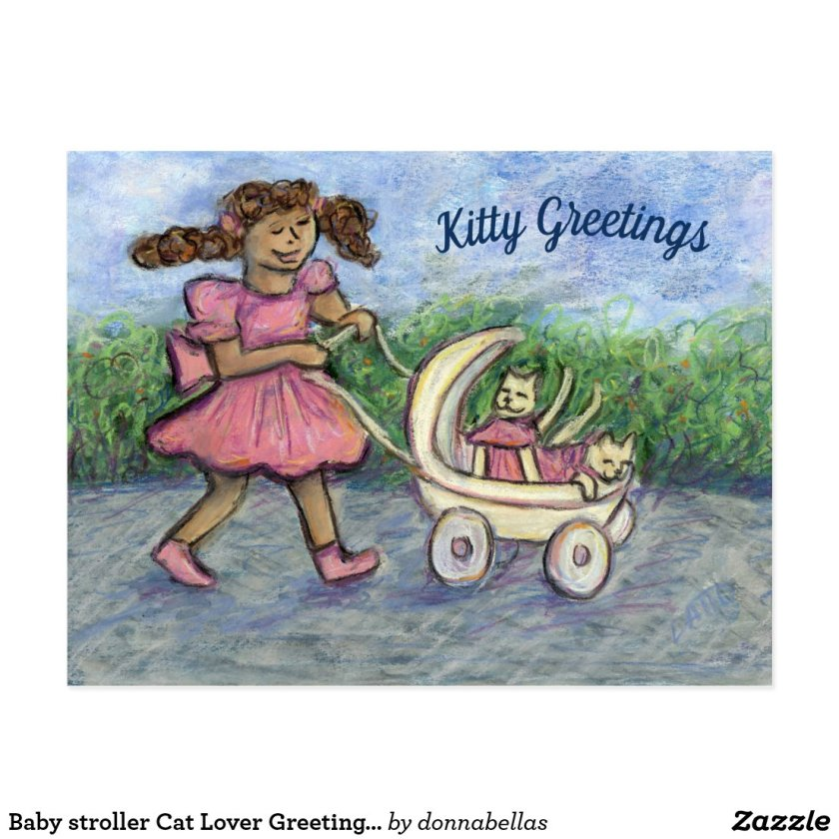 Baby stroller Cat Lover Greeting Custom Postcards