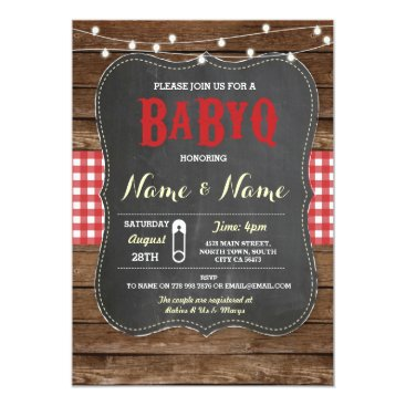 BaByQ BBQ Baby Shower Red Chalk Wood Invite