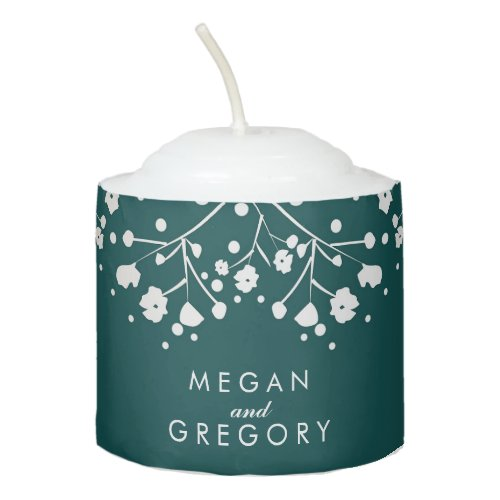 Baby&#39&#x3B;s Breath Gold and Teal Wedding Votive Candle