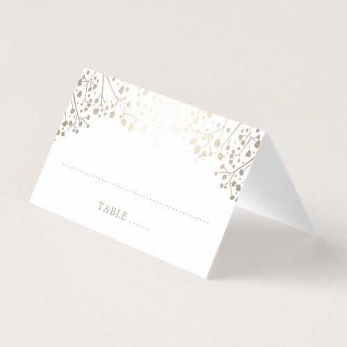 Baby&#39&#x3B;s Breath Gold and White Elegant Wedding Place Card