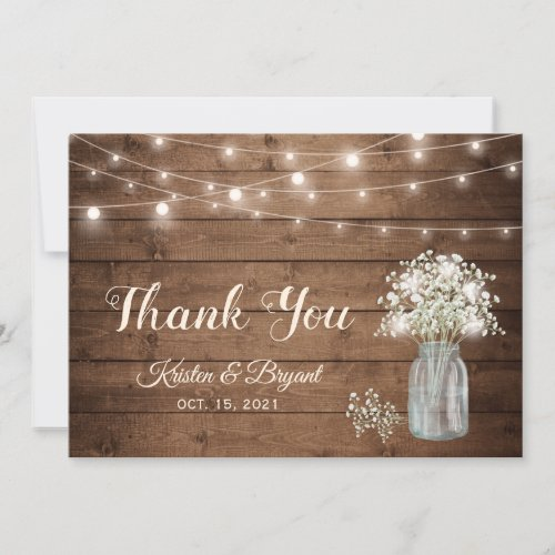 Baby's Breath Mason Jar String Lights Wedding Thank You Card