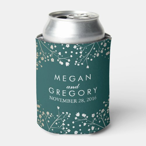 Baby&#39&#x3B;s Breath Teal Floral Wedding Can Cooler