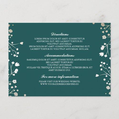 Baby&#39&#x3B;s Breath Teal Wedding Details - Information Enclosure Card