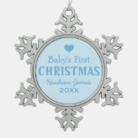 Baby's First Christmas | Baby Boy Blue Snowflake Pewter Christmas Ornament