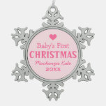Baby's First Christmas | Baby Girl Pink Snowflake Pewter Christmas Ornament