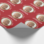 Baby's First Christmas Photo Custom Name and Year Wrapping Paper