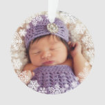 Baby's First Christmas | Purple Snowflake Photo Ornament