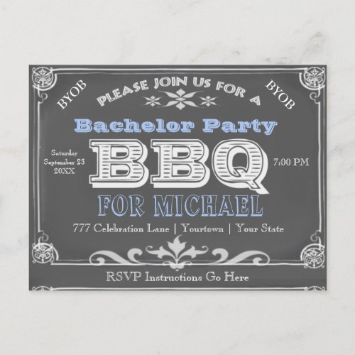 Bachelor Party | BBQ | Vintage Chalkboard Invitation Postcard