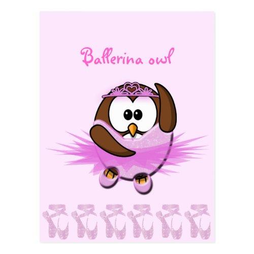 Ballerina owl - glitter postcard