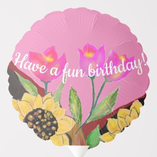Balloon Birthday Bright Pink Sunflower & Tulip