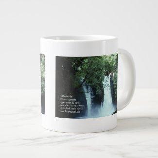Banias Waterfall and Psalm 104:13 20 Oz Large Ceramic Coffee Mug